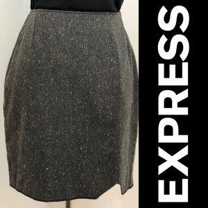 EXPRESS Grey Tweed Mini Skirt
